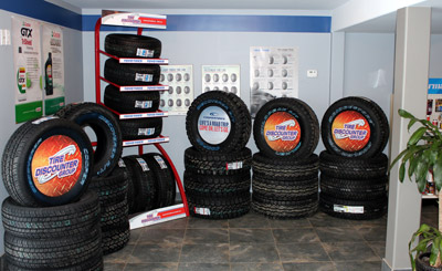 Tires on display in South River, Ontario